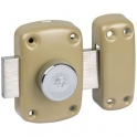 Verrou à bouton bronze - Cylindre 50 mm - Pêne 110 mm - Cyclop - Vachette