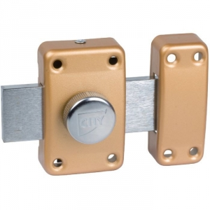 Verrou à bouton bronze - Cylindre 35 mm - Pêne 110 mm - City 25 - Iséo