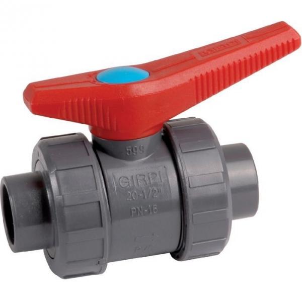 Vanne à boisseau sphérique PVC pression noire - Tube Ø 50 mm - Manette rouge - Girpi