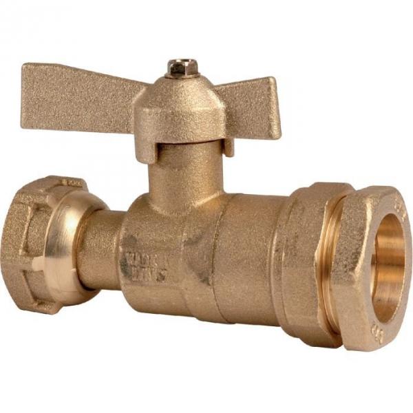 Robinet d'arrêt à boisseau sphérique - F 3/4' - Ø 32 mm - Avant et après compteur d'eau - Pour tube PE - Huot