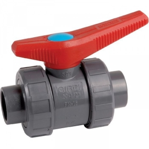 Vanne à boisseau sphérique PVC pression noire - Tube Ø 32 mm - Manette rouge - Girpi