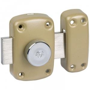 Verrou à bouton bronze - Cylindre 35 mm - Pêne 110 mm - Cyclop - Vachette