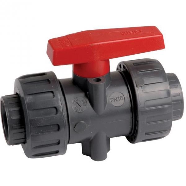Vanne à boisseau sphérique PVC pression noire Haute performance - Tube Ø 50 mm - Manette rouge - Girpi