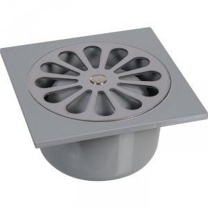Siphon de sol PVC gris - 100 x 100 mm - Grandsire