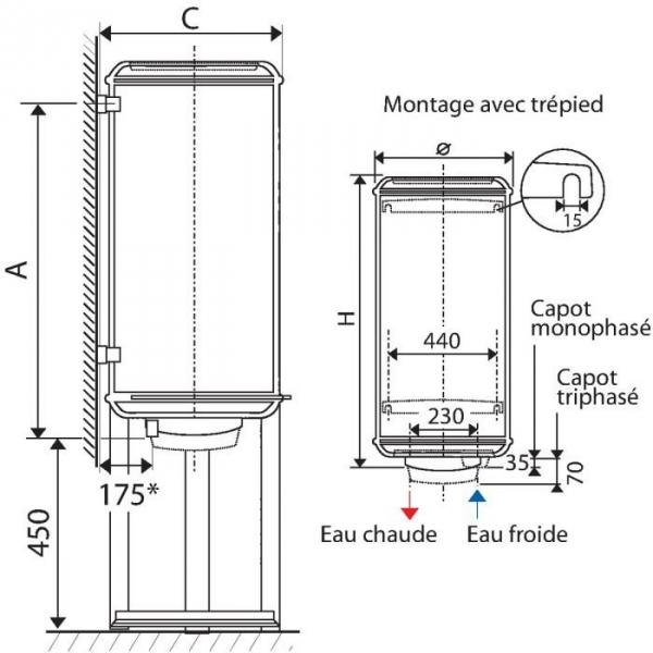 chauffe eau chauffeo plus 200l vertical mural monophas. Black Bedroom Furniture Sets. Home Design Ideas