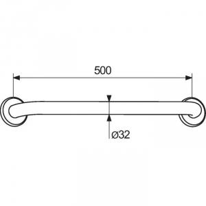 Barre d'appui droite blanche - 500 mm - Ø 32 - Delabie