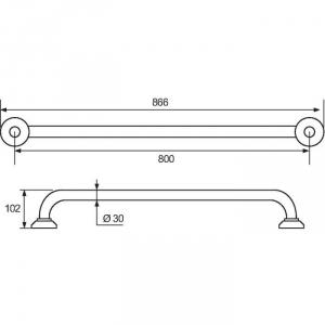 Barre d'appui droite chromé - 800 mm - Ø 30 mm - Pellet ASC