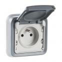 Prise grise à encastrer - 2P+T - Connexion à bornes automatique - Plexo - Legrand