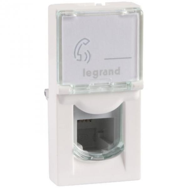 Prise multimédia blanche - RJ 45 - 2 modules - Pour câble Cat 6 - Mosaic - Legrand