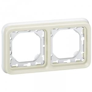 Support plaque blanche composable - 2 postes - Plexo - Legrand