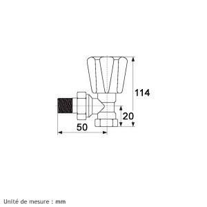 """Robinet de radiateur équerre à visser - F 3/8"""" - Simple réglage - RBM"""