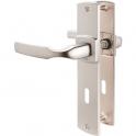 Poignée de porte sur plaque chromé velours - Clé L - 220 mm - Artis - Vachette