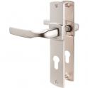 Poignée de porte sur plaque chromé velours - Clé I - 220 mm - Artis - Vachette
