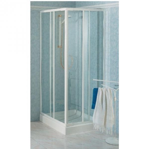 Porte de douche coulissante d 39 angle verre tremp granit 4 ventaux 680 780 mm riviera a - Porte de douche d angle coulissante ...