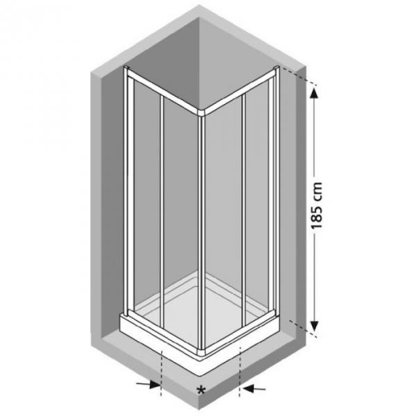 Porte de douche coulissante d 39 angle verre tremp granit 4 ventaux 680 780 mm riviera a - Porte coulissante d angle ...