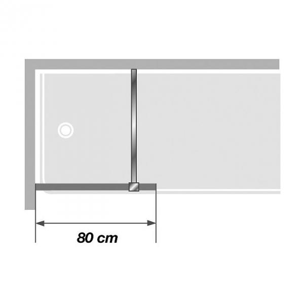pare baignoire fixe verre transparent 1 ventail 140 x 80 cm ibiza kinedo cazabox. Black Bedroom Furniture Sets. Home Design Ideas