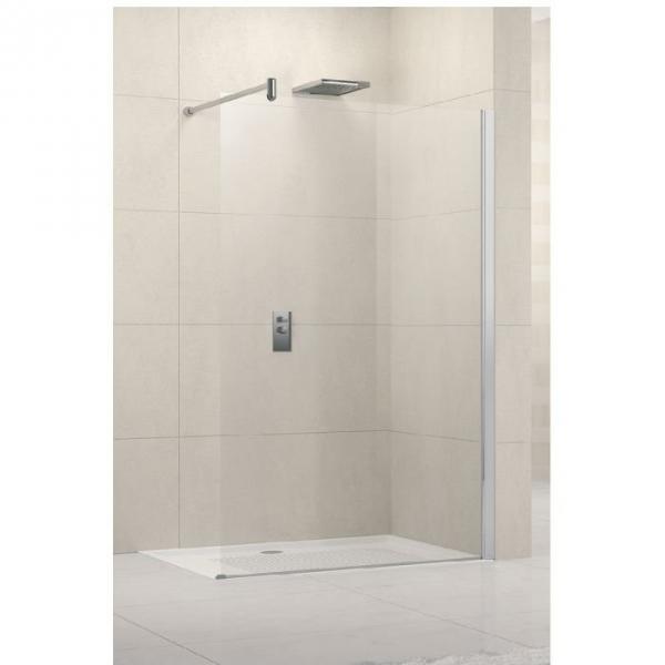 Paroi de douche fixe verre transparent 100 cm lunes h novellini cazabox - Paroi de douche 100 ...