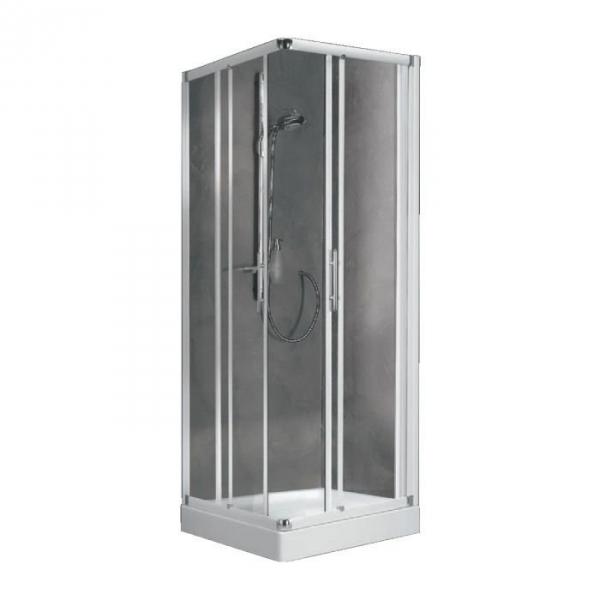 Porte de douche coulissante d 39 angle verre s rigraphi 4 ventaux 780 810 mm lunes a - Porte coulissante d angle ...