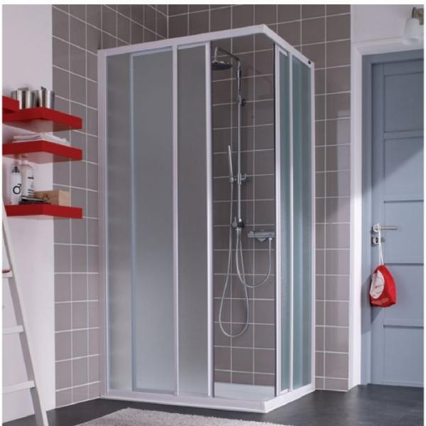 Porte de douche coulissante d 39 angle verre transparent 4 ventaux 775 790 mm atout 2 - Porte coulissante d angle ...