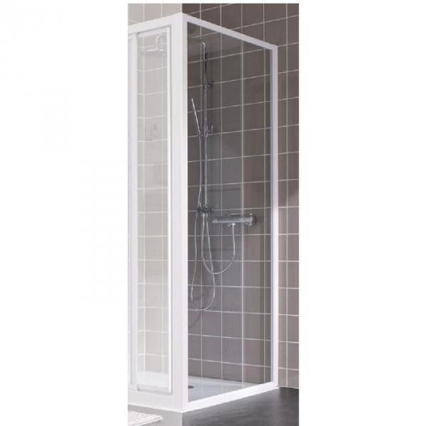paroi de douche fixe verre transparent 90 cm atout 2 leda cazabox. Black Bedroom Furniture Sets. Home Design Ideas
