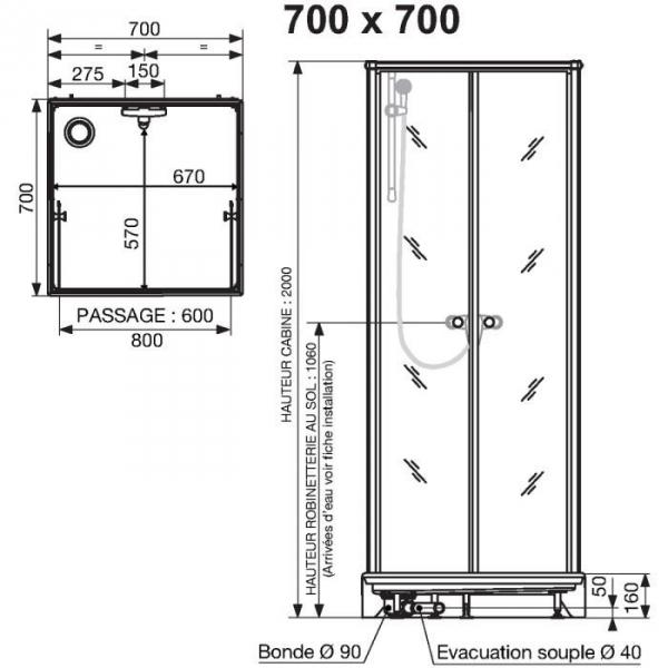 cabine de douche carr e portes battantes granit es 70 x. Black Bedroom Furniture Sets. Home Design Ideas