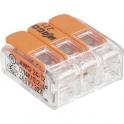 Mini borne de connexion à levier 3 fils - Série 221 - Vendu par 50 - Wago