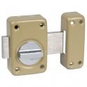 Verrou à bouton bronze - Cylindre s'entrouvrant 45 mm - Pêne 110 mm - Série V136 - Vachette