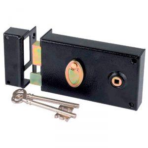 Serrure à gorge en applique noire gauche à fouillot - Clé L - Axe à 52 mm - Série 730 - DOM