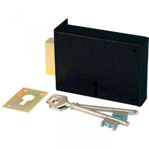 Serrure à gorge en applique noire gauche simple - Clé L - Axe à 70 mm - Série 467 - DOM