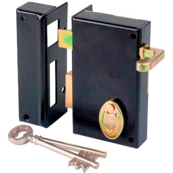 Serrure à gorge en applique noire gauche à tirage - Axe à 45 mm - Série 802 - DOM
