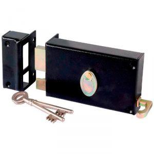 Serrure à gorge en applique noire gauche à tirage - Axe à 70 mm - Série 729 - DOM