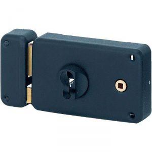 Serrure en applique noire gauche à fouillot - Clé I - Axe à 60 mm - Classique - Thirard