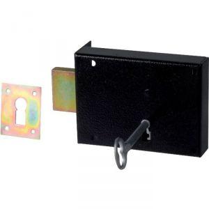 Serrure en applique noire gauche Simple - Clé L - Axe à 80 mm - Série 461 - DOM