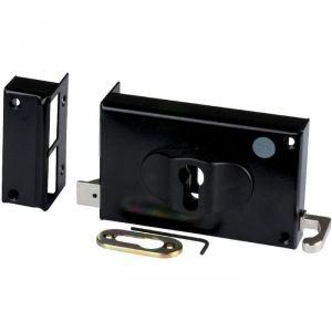 Serrure en applique noire gauche à Tirage - Clé I - Axe de 52 à 70 mm - Série ND10 - DOM