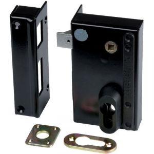 Serrure en applique noire gauche à fouillot - Clé I - Axe à 45 mm - Série ND10 - DOM