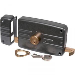 Serrure en applique noire gauche à Tirage - Clé I - Axe à 70 mm - Série 5G - Iséo