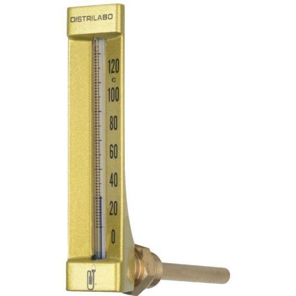 Thermomètre coudé boîtier aluminium pour chauffage - 100 mm - Distrilabo