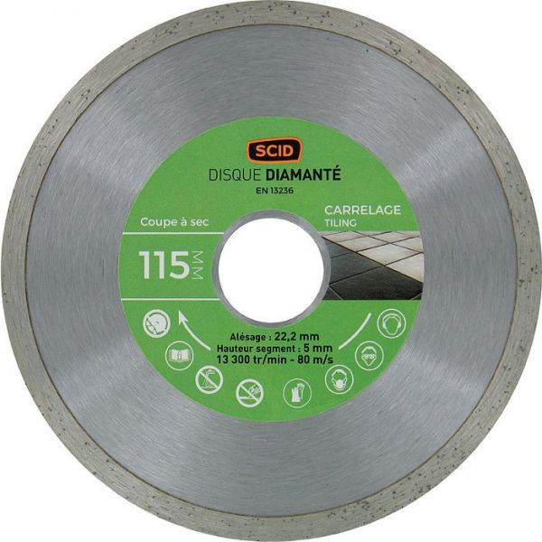 Disque diamant à tronçonner Eco - Ø 125 mm - carrelage - SCID