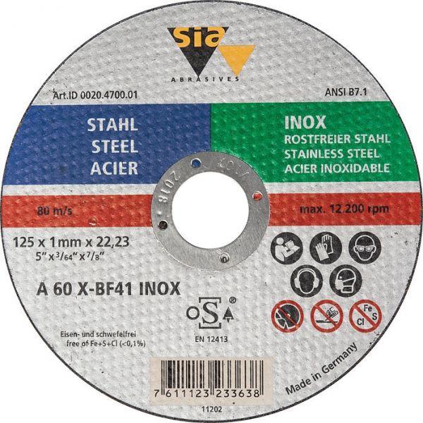 Disque à tronçonner - Ø 125 x 1 mm - Acier / inox - SIA Abrasives