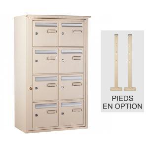 Bloc 8 boîtes aux lettres collectives extérieur sur pieds - Type B8 - Ivoire claire - Languedoc standard - Decayeux