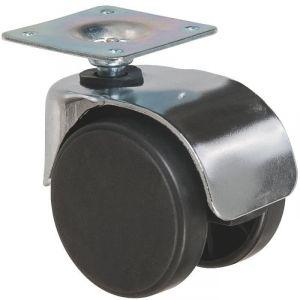 Roulette jumelée ameublement chromée à platine pivotante S49 ZP - Caujolle