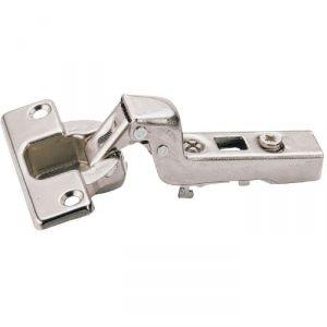 Charnière invisible à visser Intermat - Angle d'ouverture 110° - Entraxe 52 mm - Coudure 16 mm - Hettich