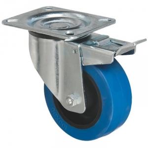 Roulette bleu à frein à platine pivotante - Ø 100 mm - Série S2NS - Caujolle