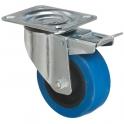 Roulette bleu à frein à platine pivotante - Ø 125 mm - Série S2NS - Caujolle