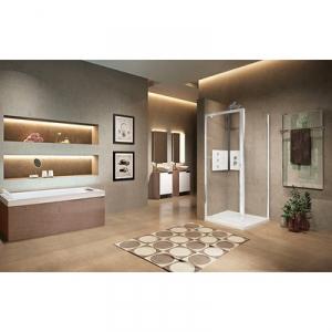 Porte de douche pivotante verre transparent - 1 ventail - 840 à 900 mm - Lunes G 2.0 - Novellini
