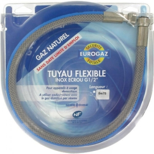 """Flexible gaz natuel durée de vie illimitée - FF 1/2"""" - 200 cm - Eurogaz"""