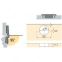 Charnière invisible à visser Intermat pour porte à moulure - Angle d'ouverture 95° - Entraxe 52 mm - Coudure 16 mm - Hettich
