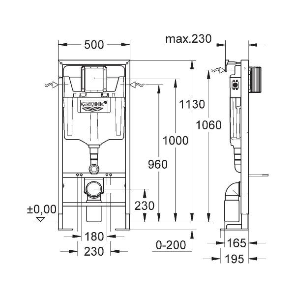 b ti support autoportant rapid sl grohe cazabox. Black Bedroom Furniture Sets. Home Design Ideas