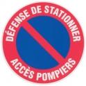 Disque plastique Ø 30 cm - Défense de stationner accès pompiers - Novap