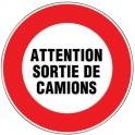 Panneau rond de signalisation - sortie de camions - Outibat